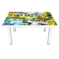 Виниловая наклейка на стол Деревушка (интерьерная ПВХ пленка для мебели) мост дома Зеленый 600*1200 мм