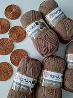 Полушерстяная пряжа Мерино спорт светло коричневого цвета YARNART MERINO SPORT 50% шерсть / 50% акрил