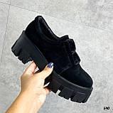 Женские туфли на платформе черные замшевые, фото 7