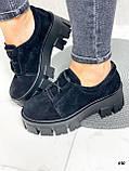 Женские туфли на платформе черные замшевые, фото 6