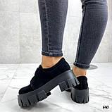 Женские туфли на платформе черные замшевые, фото 8