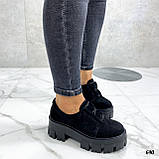 Женские туфли на платформе черные замшевые, фото 2