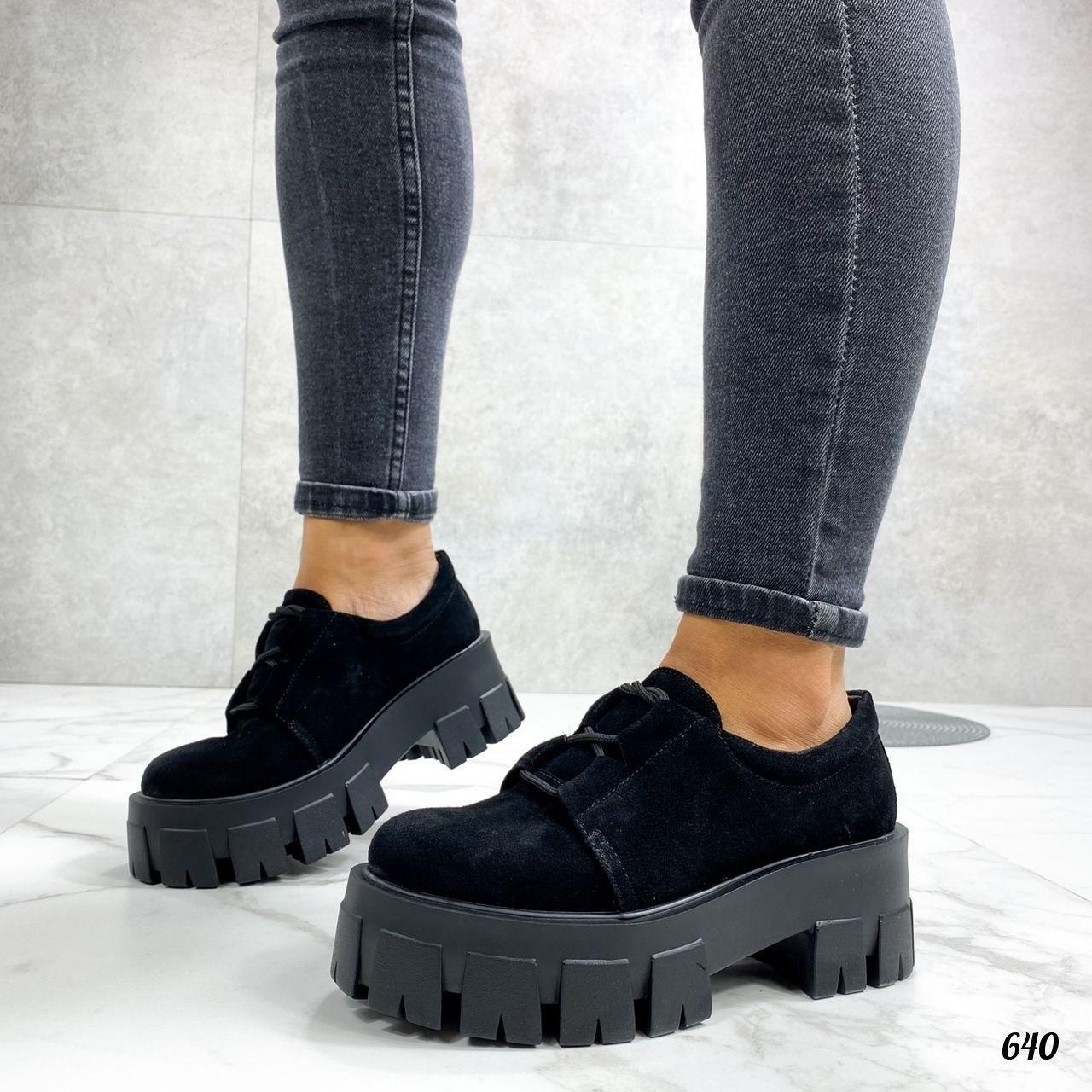 Женские туфли на платформе черные замшевые