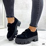Женские туфли на платформе черные замшевые, фото 4