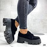 Женские туфли на платформе черные замшевые, фото 5
