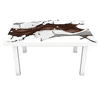 Виниловая наклейка на стол Кофейные брызги (интерьерная ПВХ пленка для мебели) жидкость Абстракция кофе Бежевый 600*1200 мм