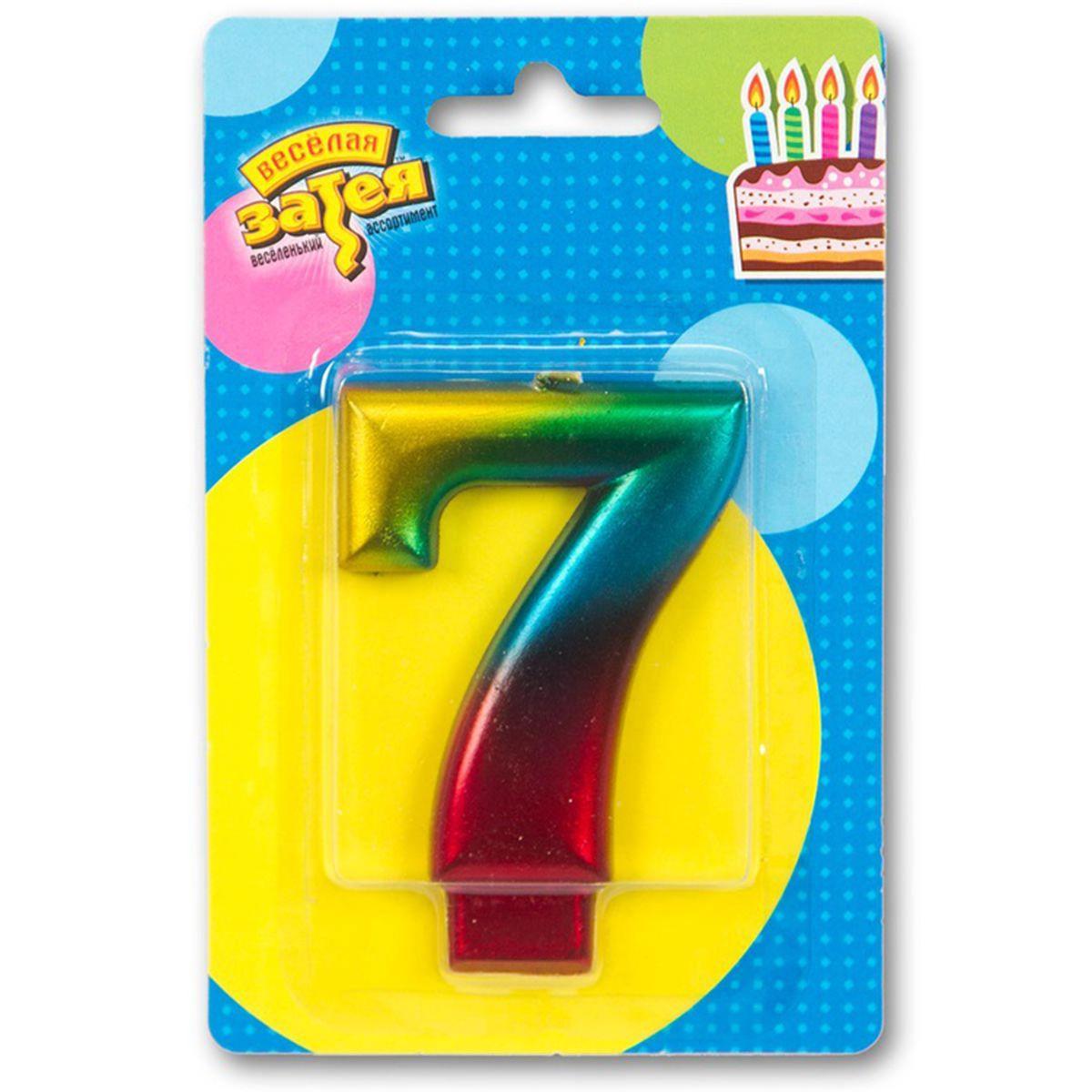 """Свічка в торт цифра хром """"7"""", райдужна, Свеча в торт цифра """"7"""""""