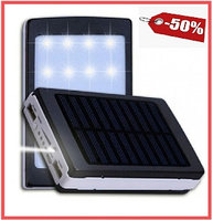 Power Bank внешний аккумулятор 10000 mAh  Павер банк + мощный фонарь+зарядка от солнца