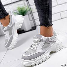 Кроссовки женские белые + серые на платформе из эко кожи. Кросівки жіночі білі + сірі на платформі, фото 2