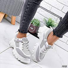 Кроссовки женские белые + серые на платформе из эко кожи. Кросівки жіночі білі + сірі на платформі, фото 3