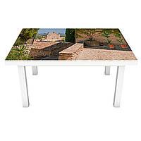 Виниловая наклейка на стол Южный Город (интерьерная ПВХ пленка для мебели) улицы дома пальмы Бежевый 600*1200 мм
