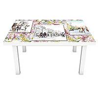 Виниловая наклейка на стол Рисунок карандашом (интерьерная ПВХ пленка для мебели) Люди город Зеленый 600*1200 мм