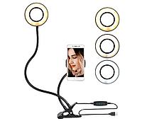 Кольцевая LED лампа 9 см диаметр, крепление-прищепка, USB