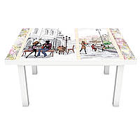 Виниловая наклейка на стол Кафе в Париже (интерьерная ПВХ пленка для мебели) нарисованные Люди Бежевый 600*1200 мм