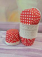 Бумажные формы для кексов усиленные красные в горох 6* 4 см