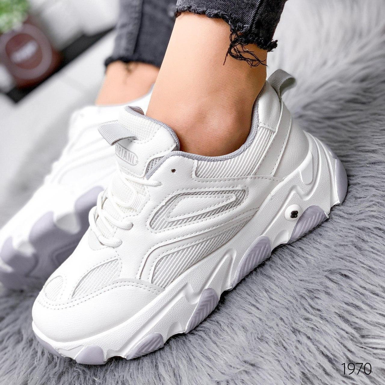 Кроссовки женские белые на платформе из эко кожи. Кросівки жіночі білі на платформі