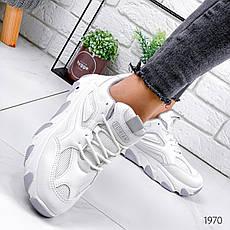 Кроссовки женские белые на платформе из эко кожи. Кросівки жіночі білі на платформі, фото 3