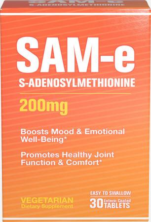 Puritan's pride SAM-e 200 mg, (S-Аденозилметионин) 30 caplets