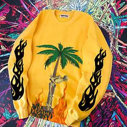 Свитшот жёлтый Palm Angels BURNING SKELETON  • кофта Палм Анжелс