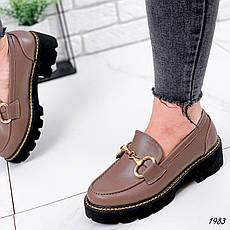 Туфли женские коричневые на платформе из эко кожи. Туфлі жіночі коричневі на платформі з еко шкіри, фото 2