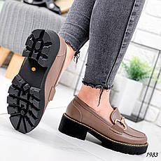 Туфли женские коричневые на платформе из эко кожи. Туфлі жіночі коричневі на платформі з еко шкіри, фото 3