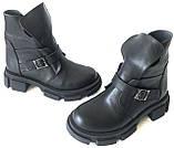 Diesel чорні напівчеревики, Жіночі зимові шкіряні черевики низький хід на масивній підошві, фото 3