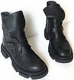 Diesel чорні напівчеревики, Жіночі зимові шкіряні черевики низький хід на масивній підошві, фото 2
