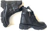 Diesel чорні напівчеревики, Жіночі зимові шкіряні черевики низький хід на масивній підошві, фото 5