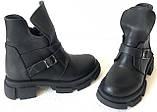 Diesel чорні напівчеревики, Жіночі зимові шкіряні черевики низький хід на масивній підошві, фото 6