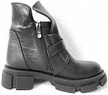Diesel чорні напівчеревики, Жіночі зимові шкіряні черевики низький хід на масивній підошві, фото 7