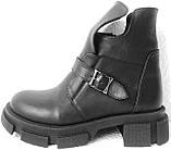 Diesel чорні напівчеревики, Жіночі зимові шкіряні черевики низький хід на масивній підошві, фото 8