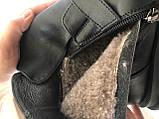 Diesel чорні напівчеревики, Жіночі зимові шкіряні черевики низький хід на масивній підошві, фото 10