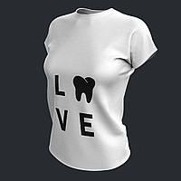 Футболка для стоматолога Love белая женская