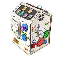 Развивающий домик бизикуб (бизиборд) для детей (мальчиков и девочек) от 1 года, бизидом со светом