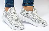Love! женские кожаные белые кроссовки на высокой подошве с росписью, фото 2