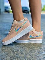 Женские кроссовки Nike Air Force Pink Sage Розовые,  Реплика, фото 1