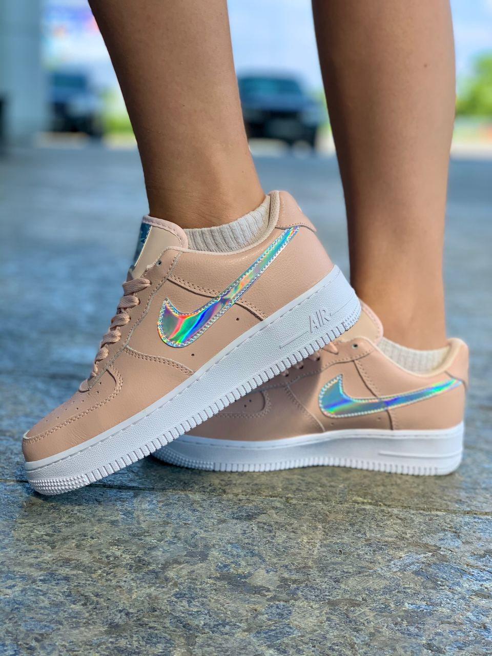 Женские кроссовки Nike Air Force Pink Sage Розовые,  Реплика