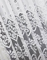 Тюль жаккардовая с нежным кружевом готовая пошитая на тесьме 280х300 Белый код 65002, фото 1