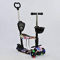"""Самокат Best Scooter 5 в 1 """"Абстракція"""" 68990 підсвічування коліс, фото 1"""