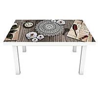 Виниловая наклейка на стол Ажурный (интерьерная ПВХ пленка для мебели) цветы украшения Абстракция Серый 600*1200 мм