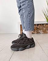 Женские кроссовки Adidas Yeezy 500 Utility Black Desert Rat Черные, Реплика, фото 1