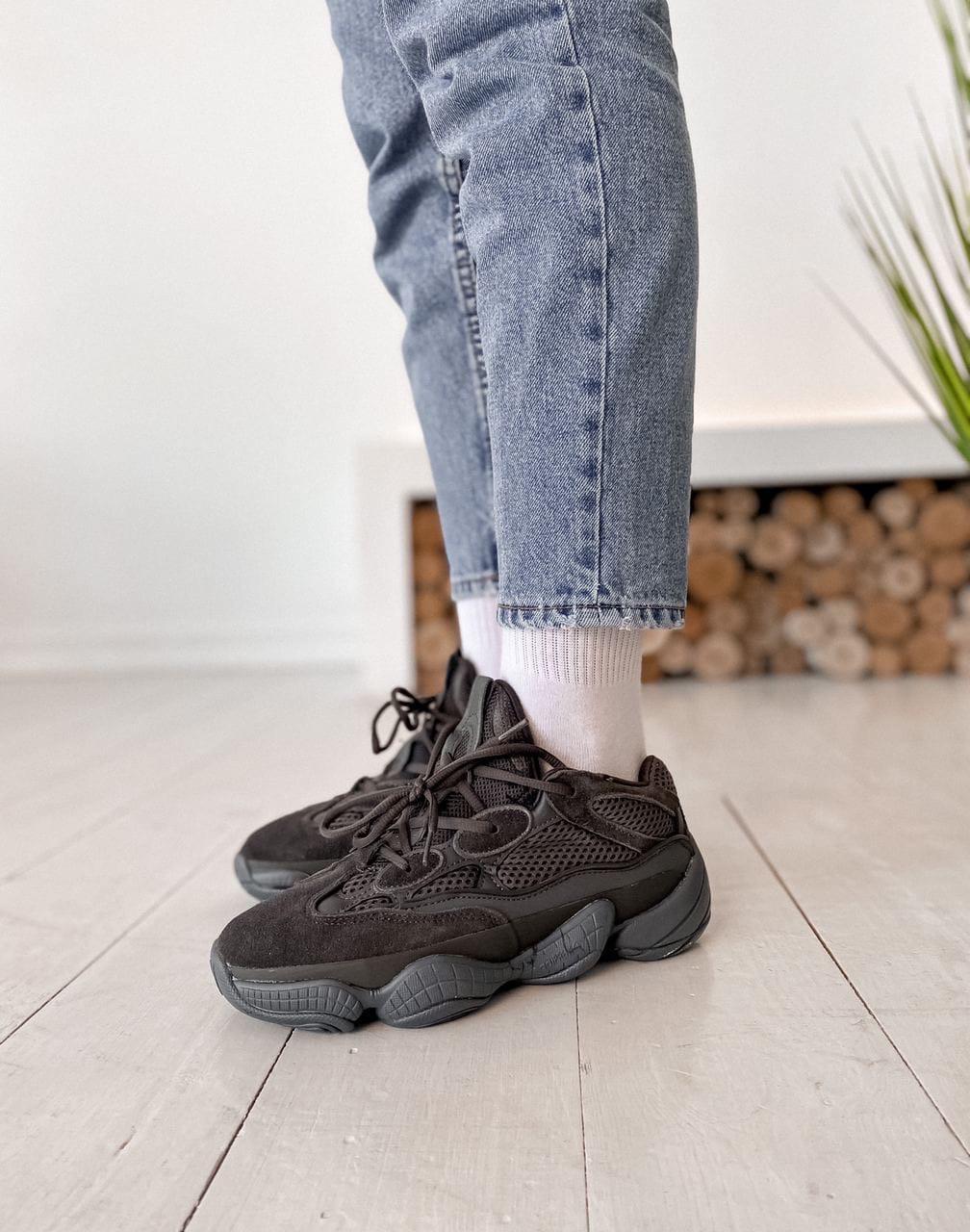 Женские кроссовки Adidas Yeezy 500 Utility Black Desert Rat Черные, Реплика