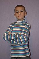 Гольф детский теплый сиреневая и голубая полоска