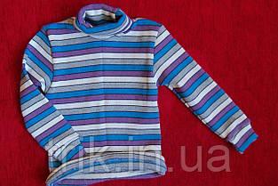 Гольф детский теплый сиреневая и голубая  полоска, фото 3