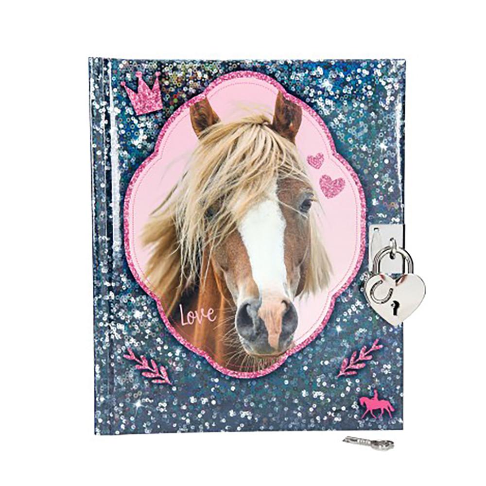 Дневник для записей на замочке синий Horses Dreams