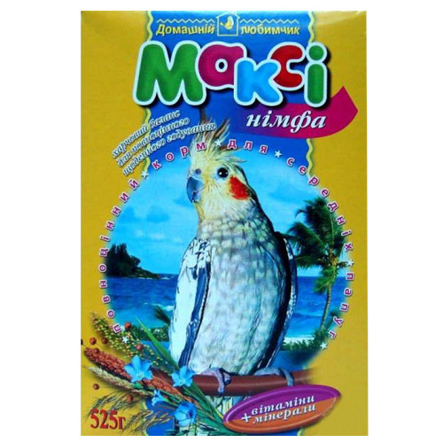 Макси корм для средних попугаев нимфа, 525 г + мелок