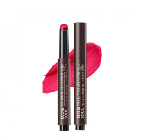 Матовая помада для губ The Saem Eco Soul Kiss Button Lips Matte 01 Kissday 2 г (8806164158661)