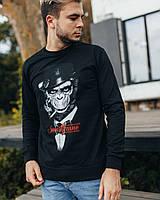 Черный лаконичный модный свитшот с прикольным рисунком