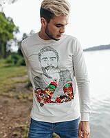 Белый лаконичный модный свитшот с прикольным рисунком