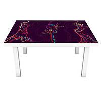 Виниловая наклейка на стол Силуэты (интерьерная ПВХ пленка для мебели) нарисованные девушки Люди Фиолетовый 600*1200 мм